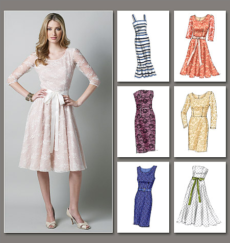 Sewing pattern showing 6 different lace dress options