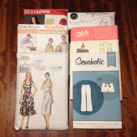 Six sewing patterns from different companies.