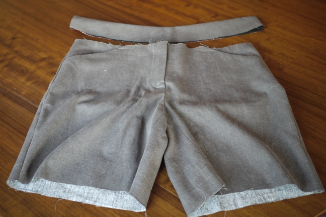 Partially made shorts with waistband still to attach and hems to finish
