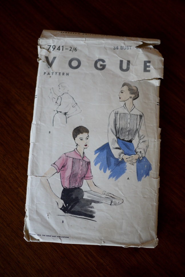 Sewing pattern envelope for pattern V7941 from 1953. The illustration shows two variations of a pintuck blouse.