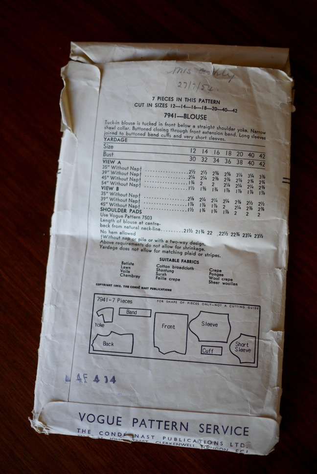 Reverse of vintage pattern envelope showing the sizing chart and fabric requirements