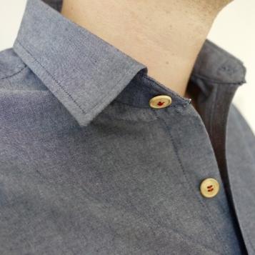 Blue's men's cotton shirt, collar