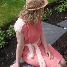 Pink crepe, belted dress