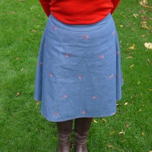 Embroidered flared denim skirt